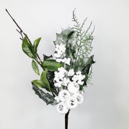 Galho Natalino de Berries Brancas c/ Pedraria  - 30cm