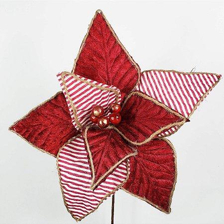 Poinsettia Natalina Vermelha c/ Listras Brancas - 32cm