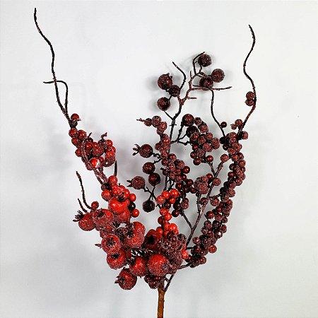 Galho Natalino Cerejas & Berries Açucarados - 42cm