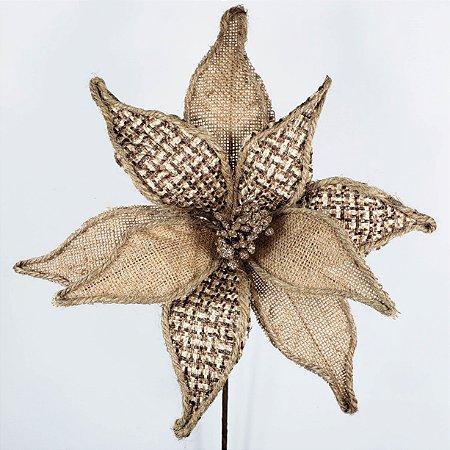 Poinsettia Natalina Juta e Trama Xadrez - 50cm