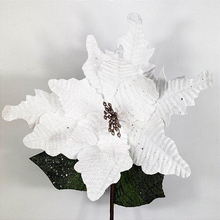 Poinsettia Natalina Branca c/ Glitter - 70cm