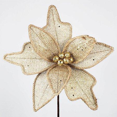 Poinsettia Natalina Fibra Rústica c/ Glitter - 75cm