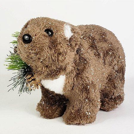 Urso Natalino Marrom - 14cmx20cm