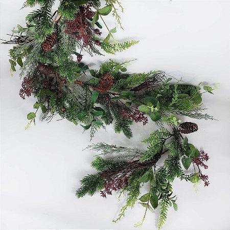 Festão Natalino Decorado c/ Pinhas e Berries - 180cm