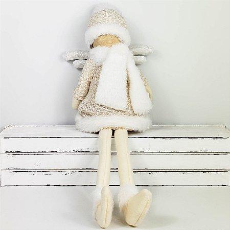 Menina Scarf Sentada - 50cm