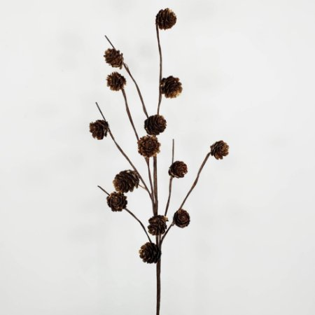 Galho Natalino de Pinhas Douradas - 63cm