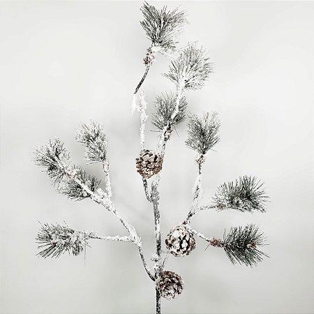 Galho Natalino Nevado c/ Pinhas - 90cm