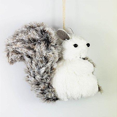 Esquilo Branco p/ Pendurar - 13cm