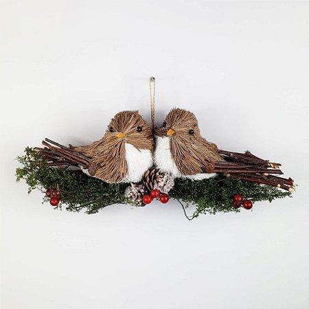 Casal de Pássaros no Galho - 8cmx23cm