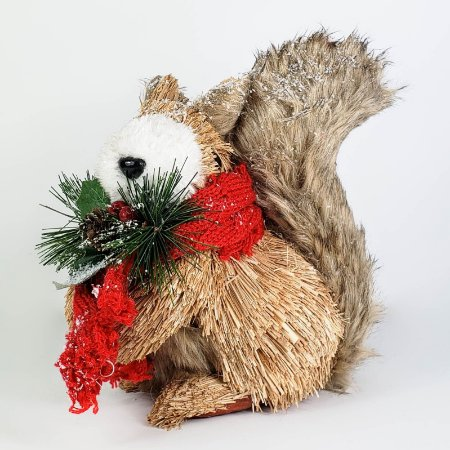 Esquilo Natalino Rústico de Cachecol - 19cm