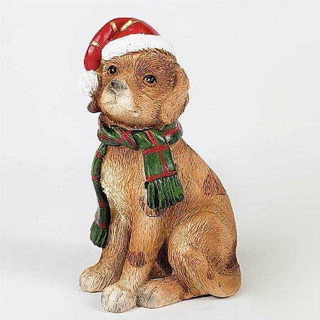 Cachorro Marrom Natalino de Resina - 10cm