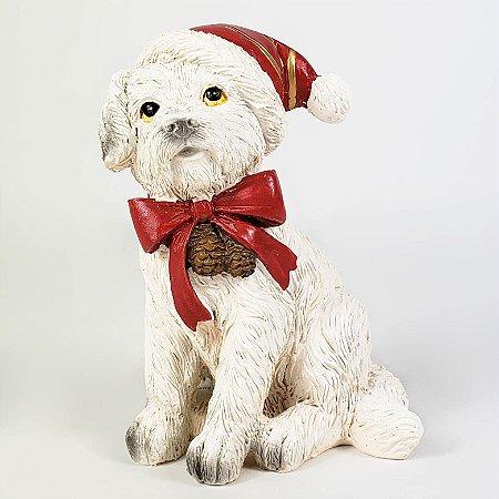 Cachorro Branco Natalino de Resina - 10cm