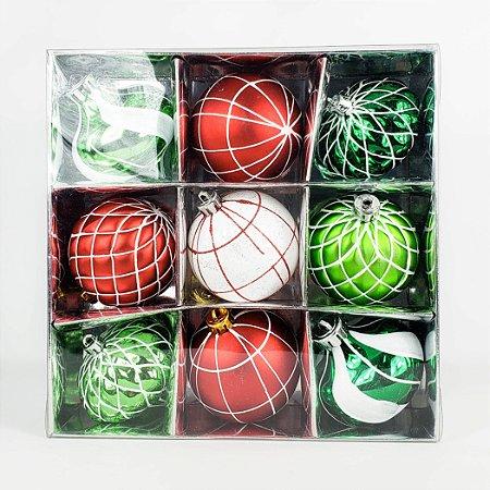 Caixa c/ Bolas de Natal Sortidas - 24,5cm