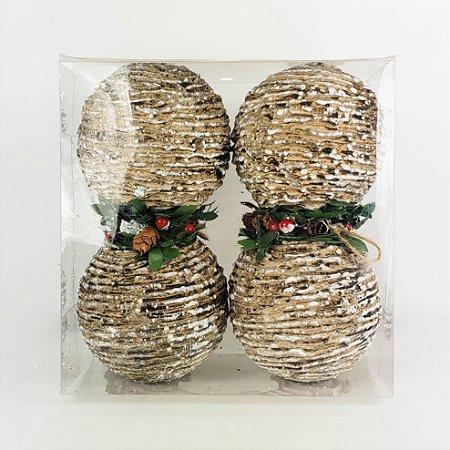 Caixa c/ 4 Bolas de Natal Bege c/ Folhas e Mini Pinhas