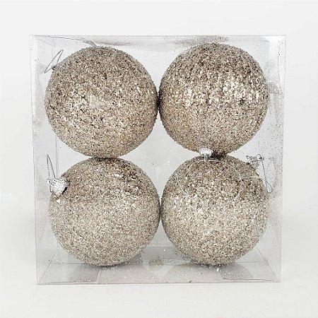 Caixa c/ 4 Bolas de Natal Glitter Nude e Prata