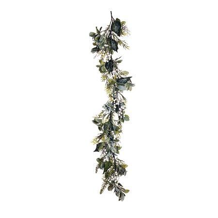 Festão c/ Berries Brancos Nevado - 140cm