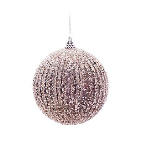 Caixa c/ 6 Bolas de Natal Glitter Nude e Prata