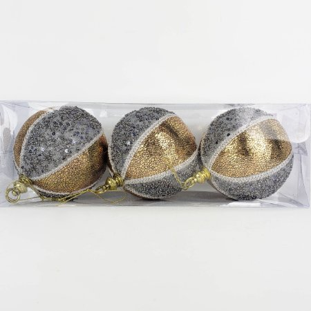 Caixa c/ 3 Bolas Natalinas Dourado e Prata