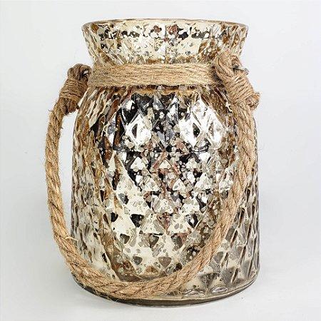 Lanterna/Castiçal de Vidro com Corda - 15cm