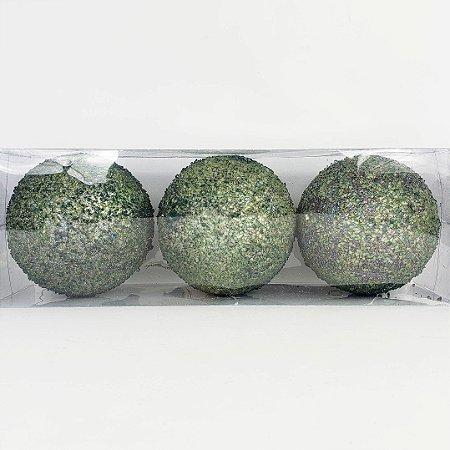 Caixa c/ 3 Bolas Natalinas Verde com Glitter