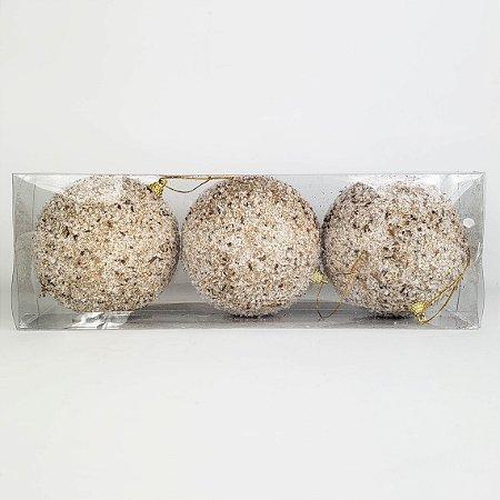 Caixa c/ 3 Bolas Natalinas Branca com Flocos e Lascas de Madeira