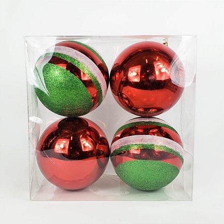 Caixa c/ 4 Bolas Natalinas Vermelha e Verde