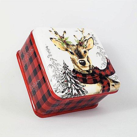 Pote Cervo de Cerâmica com Tampa - 7,5cmx11,5cmx11,5cm