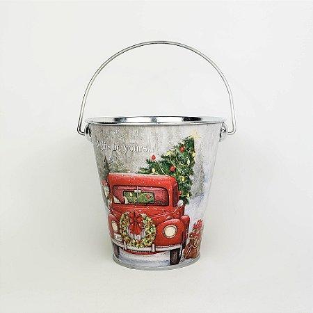 Lata com Alça Caminhão do Papai Noel - 10cmx11cm