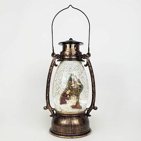 Lanterna Sagrada Família com Luz e Glitter - 25cm