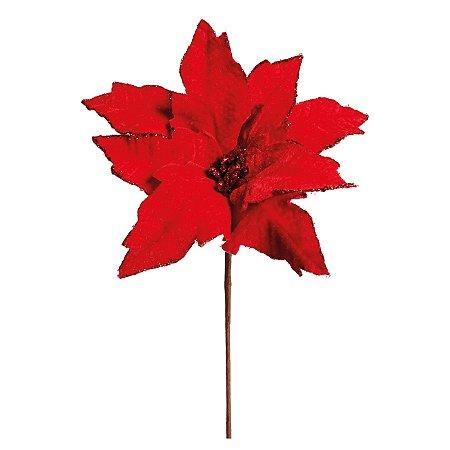 Poinsettia Natalina Vermelho de Veludo e Bordas c/ Glitter - 43cm
