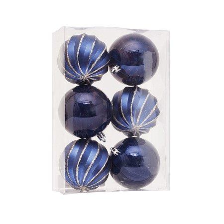 Bolas Natalinas Dark Blue Caixa com 6 unid. - 8cm