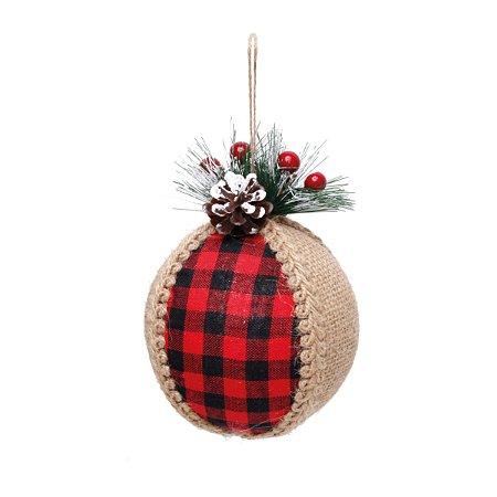 Bola de Natal Juta e Xadrez Vermelho - 12cm