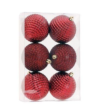 Bolas de Natal Vermelha Fosca e Brilho com 6 Unid. - 8cm