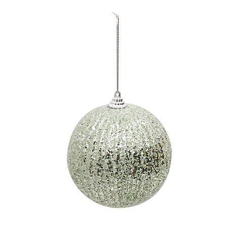 Bolas Natalinas Glitter Verde Hortelã com 4 Unid. - 10cm
