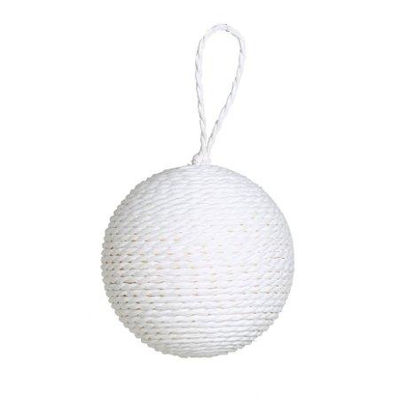Bola de Natal Branca de Corda com 6 Unid. - 8cm