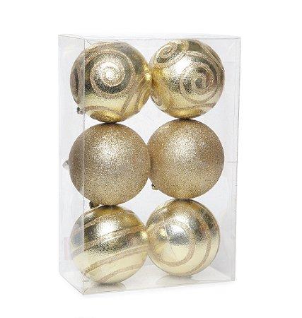 Bola de Natal Dourada Com Textura e Glitter 6 Unid. - 8cm
