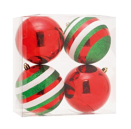 Bolas de Natal Vermelha  e com Listas Verde e Branca 4 Unid. - 10cm