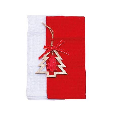 Toalhas de Mão Vermelha e Branca com Ornamento 2 Unid.  - 60cmx40cm