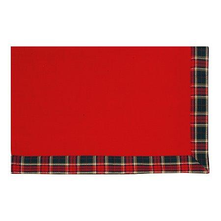 Toalha de Mesa Vermelha com Borda Xadrez - 160cmx220cm