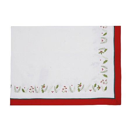 Toalha de Mesa Branca com Cipreste - 160cmx270cm
