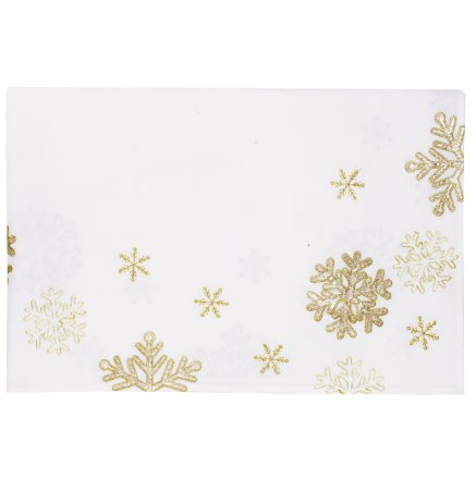 Toalha de Mesa Branca com Flocos de Neve Dourados - 160cmx220cm