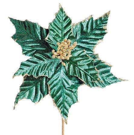 Poinsettia Natalina de Veludo Verde - 35cmx26cm