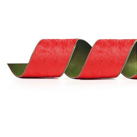 Fita Aramada Vermelha de Veludo com Verde - 9m