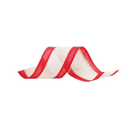 Fita Aramada Listra Vermelha com Juta - 9m