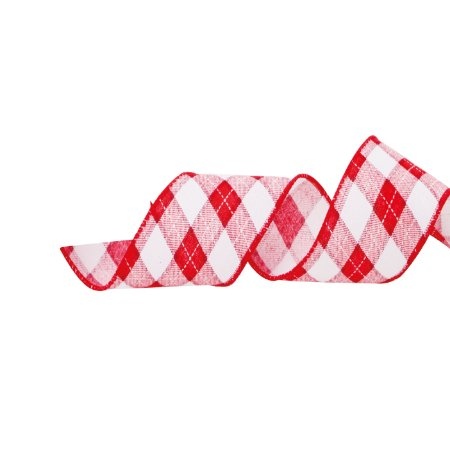 Fita Aramada Xadrez Vermelha com Branco - 9m