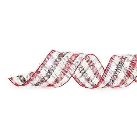 Fita Aramada Xadrez Branco e Vermelho - 9m