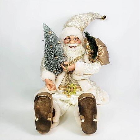 Papai Noel Com Traje Champanhe Sentado - 60cm