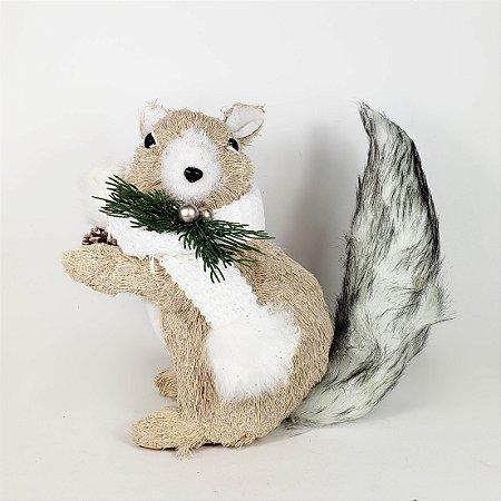 Esquilo Natalino em Pé c/ Pinha - 25cmx26cm