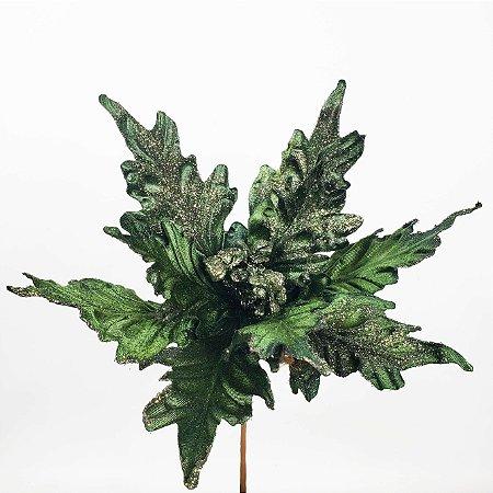 Poinsettia Natalina Verde Floresta - 30cm