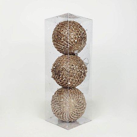 Caixa com 3 Bolas Natalinas Champanhe - 10cm